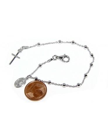 Bracciale rosario uomo o donna in Argento 925 con immagine madonnina ciondolo e croce