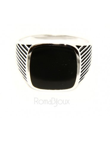 Ring 925 sterling silver men's shield chevalier square striped faux onyx