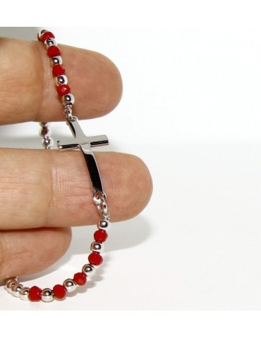 Bracciale rosario uomo in Argento 925 con immagine madonnina , croce convessa e cristallo rosso . Mis 17,00 - 20,00