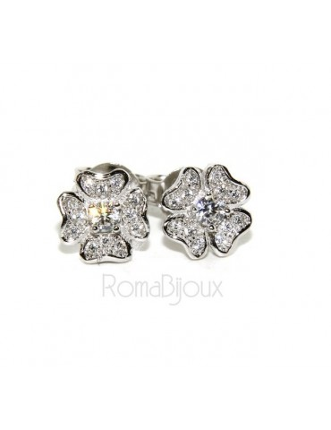 925: Women's earrings clover pave 'of white cubic zirconia microsetting