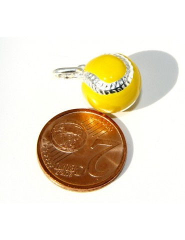 925: Pendant man woman yellow tennis ball ball Made in Italy