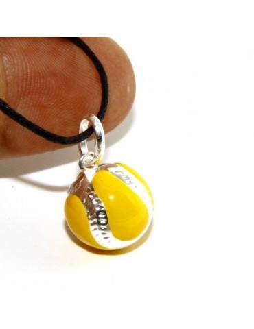 Argento 925 : Ciondolo uomo donna palla pallina da tennis gialla Made in Italy
