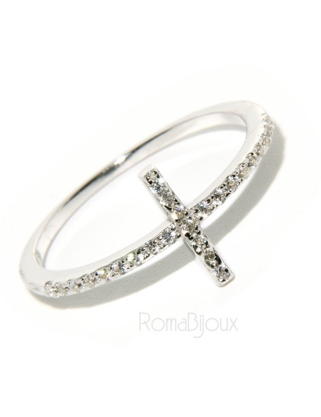 Argento 925 Rodiato : anello donna con croce microsetting zirconi
