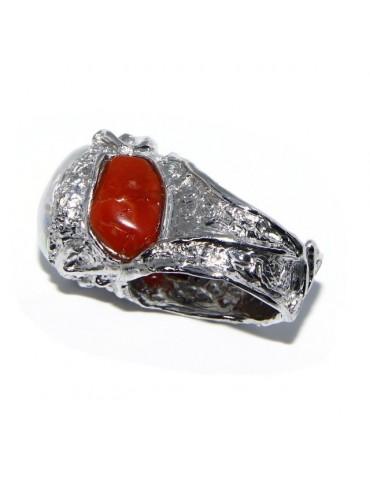Argento 925 : Anello donna regolabile realizzato a mano con gemme di corallo rosso verace naturale e perla tonda