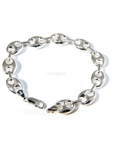 Man woman bracelet 925 Silver Rhodium no marine link 11x15 length 18,50 cm