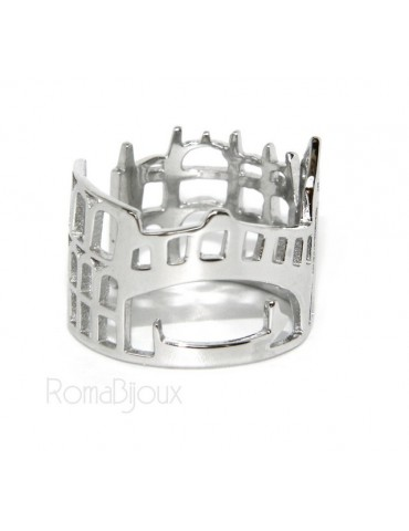 Argento 925 Rodiato : anello donna fascia fascione mix Italia Roma Pisa Venezia