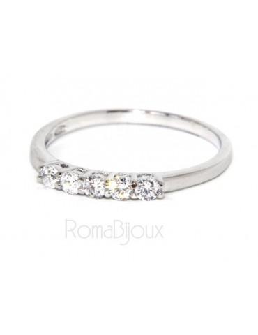 925 Rhodium: Riviera Women's ring with 5 zirconia white 2.0 mm