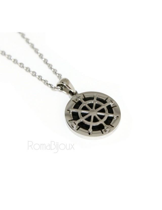 Steel: forzatina necklace with round pendant Rudder black background.