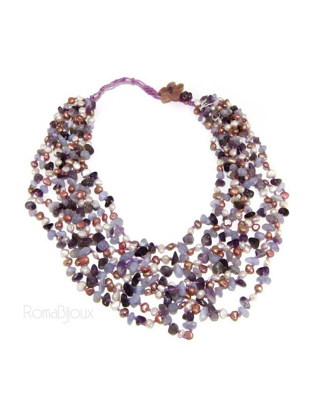 Necklace by Donna Collier Cleopatra 8 wires amethyst chalcedony and natural pearls