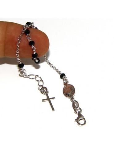 Bracciale rosario uomo donna in Argento 925 madonna miracolosa , croce e perle cristallo nero 17,00 - 20,00 cm