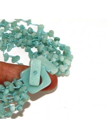 Collana da Donna collier sciarpina ciuffo amazzonite naturale colore verde acqua