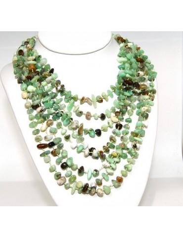 Collana da Donna collier cleopatra 8 fili crisopazio naturale verde