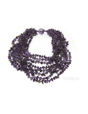 Collana da Donna collier cleopatra 8 fili ametista viola naturale
