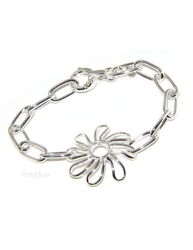 925: woman bracelet chain with Daisy Flower central 17 cm