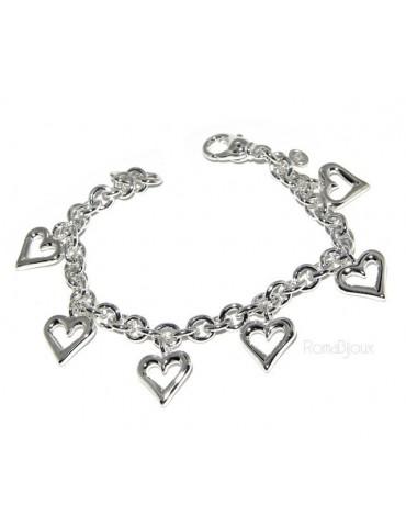 925: rolo chain bracelet woman 'with open heart pendants 17,00