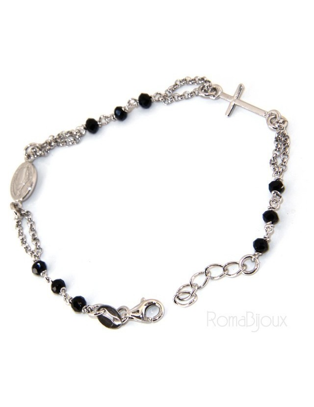 Rosary bracelet man woman 925 miraculous Madonna, small cross and black crystal. Mis. 16.50 to 19.00