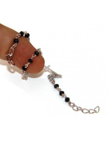 Bracciale rosario uomo donna Argento 925 madonna miracolosa , croce piccola e cristallo nero . Mis. 16,50 - 19,00