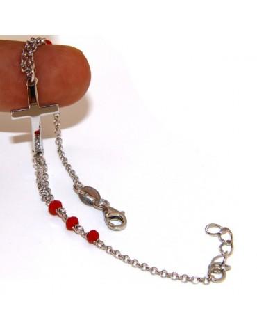 Bracciale rosario uomo donna in Argento 925 croce convessa e cristallo rosso . Mis 19,00