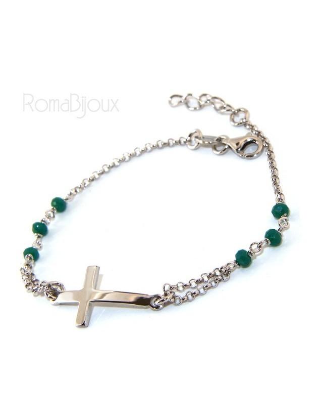 Bracciale rosario uomo donna in Argento 925 croce convessa e cristallo verde . cm 16,50 18,50