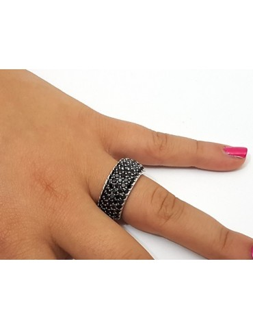 925 Rhodium: end women ring apron Riviera with 5 blacks zircons file