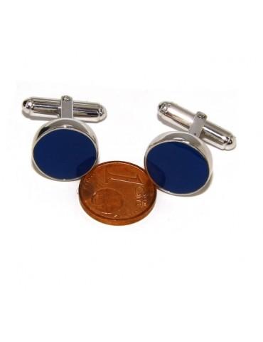 Gemelli Uomo a bottone per camicia in Argento 925 smalto blu realizzati a mano