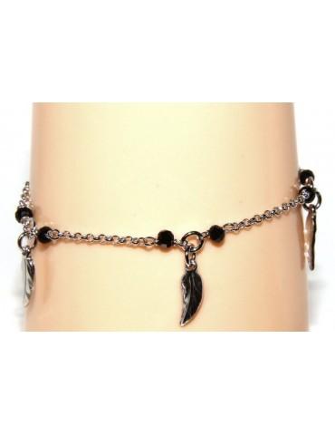 Bracelet rosary woman working in 925 black crystal pendants leaves