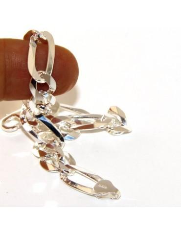SILVER 925: Bracelet 8.5mm massive man chain Figaro 3 + 1 bleached 21 cm
