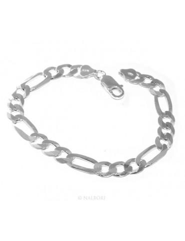 ARGENTO 925 : Collana o Bracciale uomo catena da 7,5 mm figaro 3 + 1 sbiancata