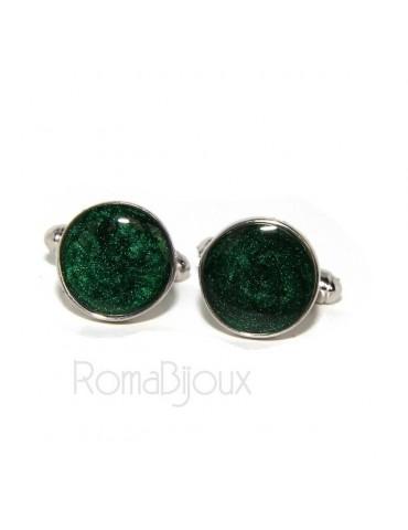 Gemelli Uomo a bottone per camicia in Argento 925 smalto verde realizzati a mano