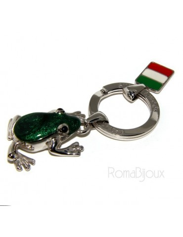 Keyrings man or woman KeyRing frog frog enamel fire handmade, all 925 17.80 g - amulet