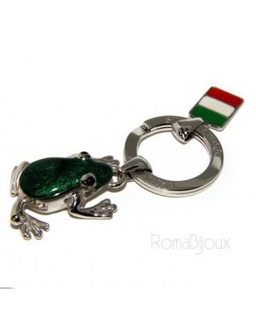 Portachiavi uomo o donna KeyRing rana frog smalto a fuoco realizzato a mano , tutto Argento 925 17,80 gr - amuleto