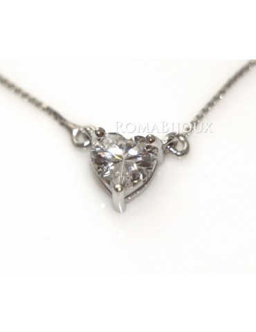 Argento 925 : Collana Collier donna punto luce brillante zircone 6x6 cuore