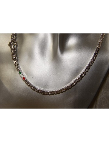 SILVER 925: Necklace Man massive Byzantine knit 65 cm Made in Italy