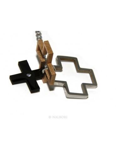 Acciaio anallergico : Esclusiva collana © NALBORI rolo' ciondolo croce puzzle 3 colori zircone