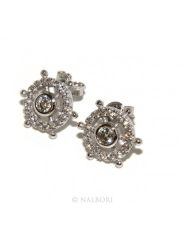 925: pair of earrings man woman rudder light point cipollino zirconia