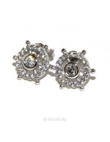 Argento 925 : coppia di orecchini uomo donna timone punto luce cipollino pavè zirconi