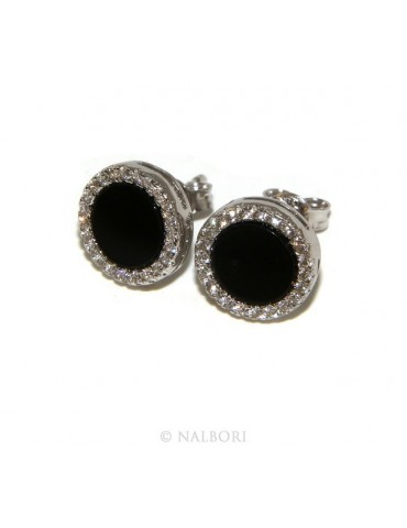 Stamped 925 silver : one pair of earrings 10mm man woman button black circle zirconia