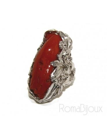 Argento 925 : grande anello donna barocco regolabile realizzato a mano con corallo verace rosso naturale