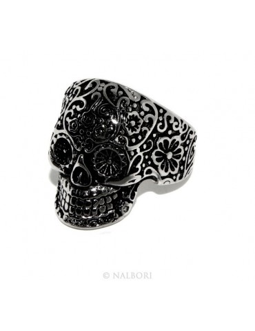 Acciaio Anallergico inossidabile : anello uomo donna teschio messicano skull 3D brunito