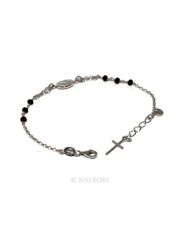Rosary bracelet male female 925 miraculous Madonna, cross and black crystal 16.00 18.50 cm