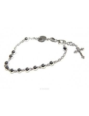 Bracciale rosario uomo donna in Argento 925 croce lavorata 18-19 cm palline da 5 mm chiaro