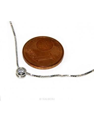 Argento 925 : Parure cipollino 3 mm punto luce con zircone. Catena veneziana ciondolo passante e Orecchini abbinati