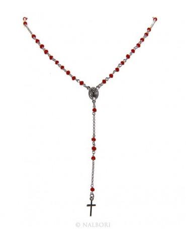 Collana Rosario uomo Argento 925 Con cristallo rosso 3,5mm croce e madonna 51+5