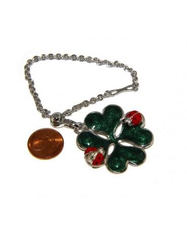 Portachiavi o pendente charme borsa donna Key ring porta chiavi quadrifoglio e coccinella argento 925 massiccio