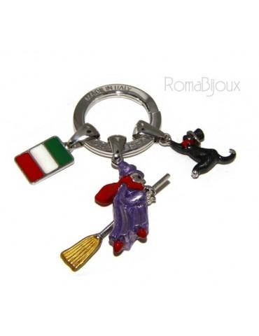 Portachiavi uomo donna Befana con scopa volante gatto nero smalto a fuoco realizzato a mano , tutto Argento 925 amuleto