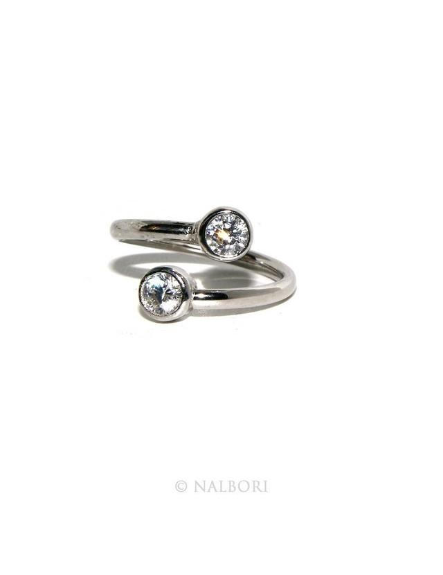 Argento 925 : Anello contrariè regolabile con zirconi naturali 4 mm colore bianco anche finger, da falange