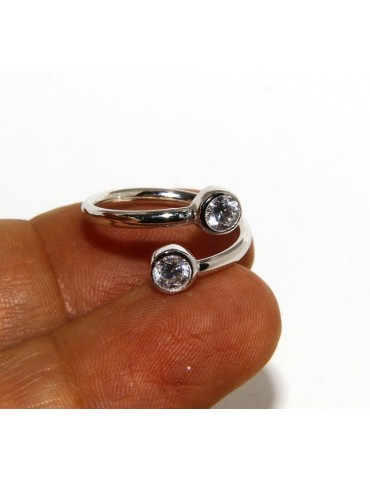 925: Adjustable contrary ring with natural zircon 4 mm white color even finger for phalanx