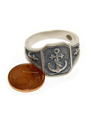 Anello Argento 925 da uomo scudo rettangolare anticato blu , ancora ancorette