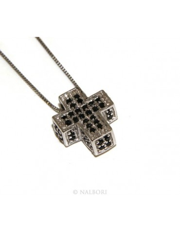 925: Necklace Collier man woman Venetian 45 cm in 3D and cross studded with zirconia black