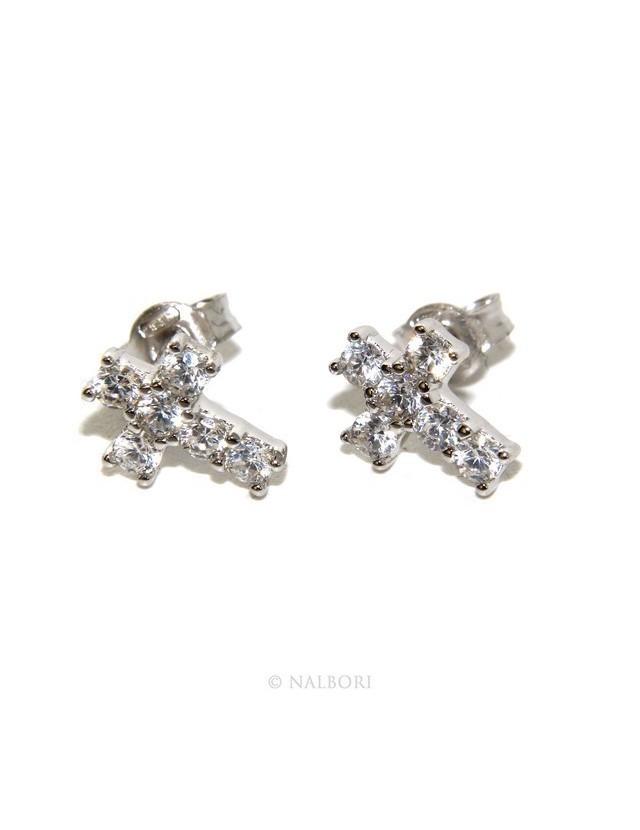 925: earrings men / women cross stitch light pave zircon White